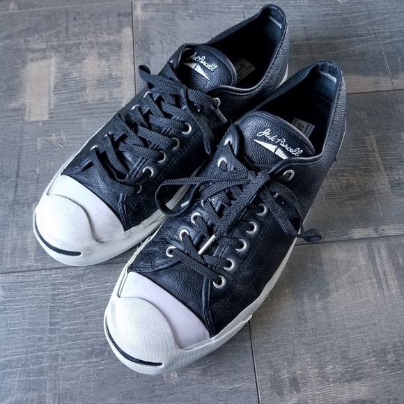 Converse Jack Purcell Black Leather Sneakers Shoes